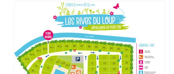 Map of our family campsite in Tourrettes-sur-Loup